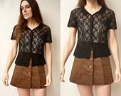 1990's Vintage Black Crochet Hippie Top Size XS
