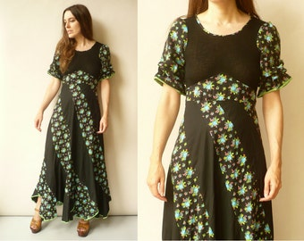 1970's Vintage Hippie Floral Bohemian Cotton Maxi Dress Size Small