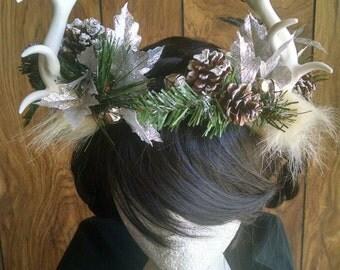 Silver Bells - winter antler headdress
