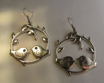 Two Silver Birds Sitting Together Earrings