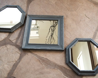 Mirror Arrangement Set of Three 16 x 16 Hand Painted Anonymous Gray and White Distressing Wall Decor