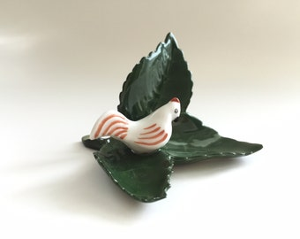 Miniature Porcelain Chicken Figurine Herend Folk Art Hen Card Holder