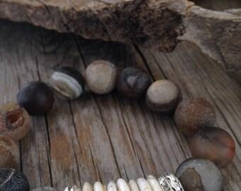 RESERVED  NATALIE Chunky stone stretch bracelet brown Druzy gemstone bracelet cowgirl boho chic jewelry stacker bracelets  shell beachy