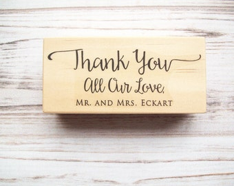 Thank You Wedding Stamp with Names , Favors Thank You Cards , Mr and Mrs