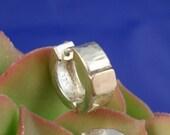 9K Gold  Silver  Earring One. huggie hoop. Gipsy 9K Gold Square Silver  Earrings. silver hoop earring for men. men's jewelry- ElenadE