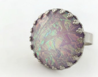 Lilac holographic ring, purple pastel goth ring