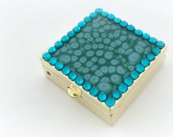 Turqoise rhinestone pill box, deco pill case, gift for her