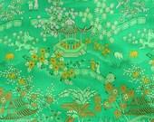 One YARD, Green Asian Landscape, Brocade Fabric, Narrow, Allover Design, Heavy Weight, Polyester Blend, B24