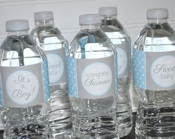 Boys Baby Shower Water Bottle Labels - It's A Boy Baby Shower Decorations - POLKADOT - Blue and Gray - Set of 10