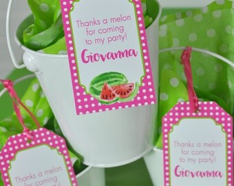 Watermelon Party Favor Tags, Thank You Tags, Party Favors, Hang Tags, Girls Birthday Party Decorations, 1st Birthday Favors - Set of 12