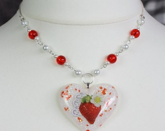 Red Strawberry Heart Resin Necklace