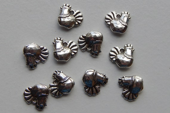 10 Pieces of Metal Jewelry Charms - 12mm Chicken, Hen, Bird, Setting, Animal, Drop, Double Sided, Antique & Bright Silver Color, Base Metal