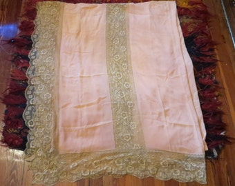 Gorgeous 20s Silk and  Lace Bedspread, Shawl, Wrap, Repurpose
