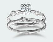 Prong setting round Moissanite twig engagement ring / 14k white gold / organic unique bridal set