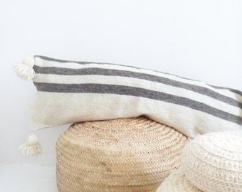 Moroccan POM POM Wool Pillow Cover - Extra Long in Grey Stripes
