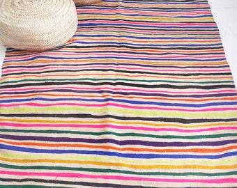 Vintage Moroccan Wool Rug - Neon Stripes