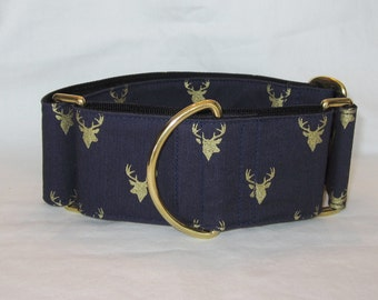 Deer Martingale Dog Collar - 1.5 or 2 Inch - navy blue gold shimmer stag silhouette wildlife animal hunting antler