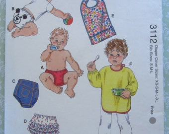 Diaper Covers and Bibs: Sizes for Diaper Covers XS S M L XL, Sizes for Bibs S M L Kwik Sew Pattern 3112 UNCUT