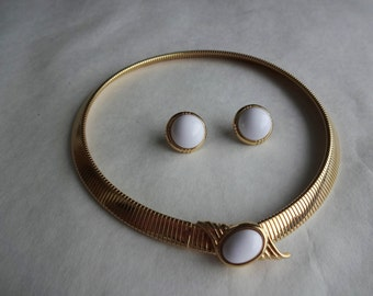 Structured Necklace & Earrings by Monet