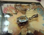 Sale Vintage Pendant/Necklace Both Marked Sterling Silver Marcasite Blue Topaz Emerald Cut Stone
