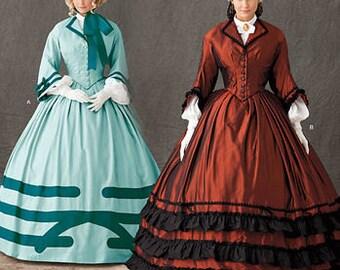 Civil War Antebellum Dress Pattern Hoop Skirt Bell Sleeves Andrea Schewe Reenactor Simplicity 1818 Uncut FF Sizes 8-24 Womens Sewing Pattern