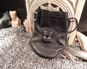 Dragon eye dice bag (Off Black  leather with  Purple  Eye)----New Style-----