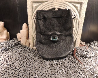 Dragon eye dice bag (Black  leather with Blue/Green Human  Eye)----New Style-----