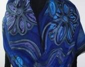 Blue, Purple Hand Painted Chiffon Silk Scarf RIVER GARDEN, Luxurious BIG size 22x90. Handmade Mother-of-the-Bride Shawl. Handmade Scarf