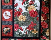 Art Quilt, Floral Asian Wallhanging, Embellished Art Quilt,  Black, Red and Gold Quilt, Heirloom Quality, Quiltsy Handmade
