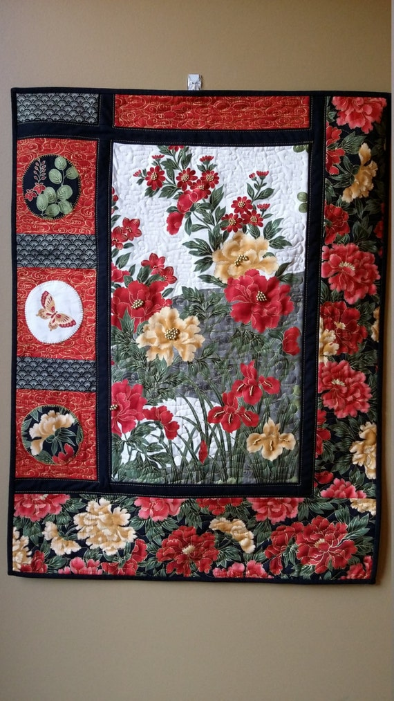 Art Quilt Floral Asian Wallhanging Embellished Art Quilt