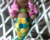 Crochet mermaid doll peg cat