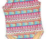 Girls Racer Back Printed Swimsuit