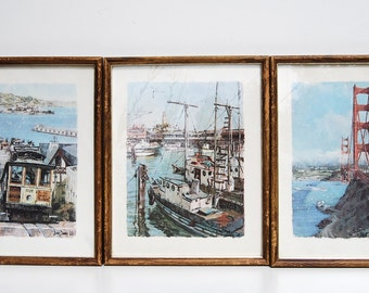 3 VTG Framed Prints, San Francisco CA, Don Davey 1960s, Golden Gate Bridge, Trolley