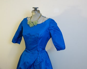 Dress blue satin convertible 1950s cobalt blue satin pencil with removable full crinoline skirt S