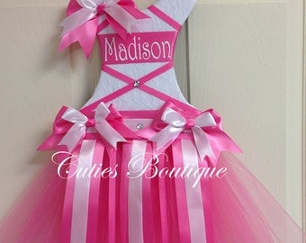 White Hotpink Tutu Dress Hair Bow Holder -- Personalized Perfect Gift For Birthday Baby Shower It's a Girl