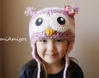 SALE - Crochet Strawberry Cream Owl Hat (4T-preteen)
