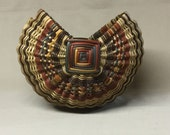 Scottish Knitting Basket with Rust and Brown Accent Weaving
