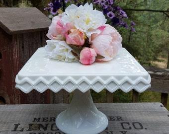 Milk Glass Square Cake Stand - Wedding - Indiana Glass - Oak Hill Vintage