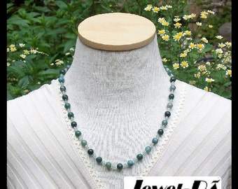 Moss Agate Necklace and Earrings