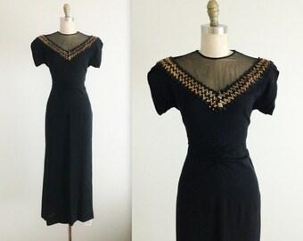 40's Dress // Vintage 1940's Black Sequin Illusion Rayon Cocktail Party Evening Dress M