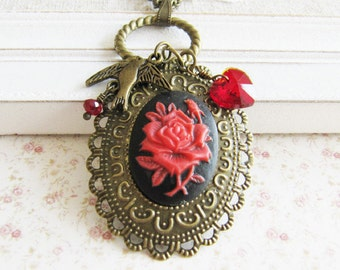 Red rose charm necklace, red crystal necklace, bronze vintage style jewelry, heart necklace, for her, Europe