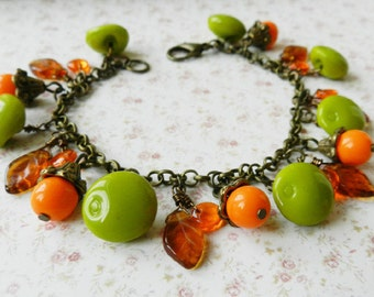Orange and green bracelet, colorful jewelry, beaded bracelet, gift for her, Europe