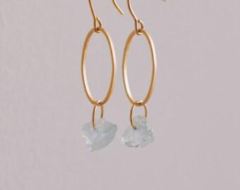 Oval Drop Earrings, Aquamarine, Rough Cut, Gold Earrings, Designer Earrings, Pure Design, Minimalist, Raw Gemstone Earrings, Dangle Earrings