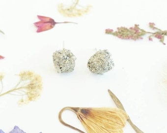 Raw Crystal Earrings Pyrite Studs Pyrite Earrings Raw Mineral Studs