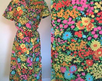 60's Floral Wrap Dress