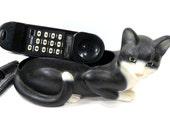 Black Cat Phone Telemania KCL Technology - Vintage Black & White Green Eyed Cat - WORKS