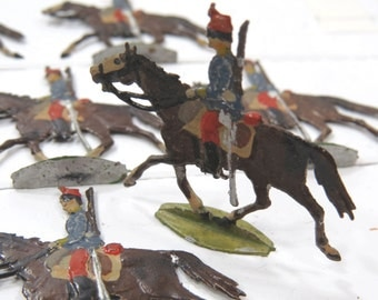 14 Miniature Flat Tin Soldiers - Antique Zinnfiguren French Chasseurs A Cheval - Hand Painted 30mm scale