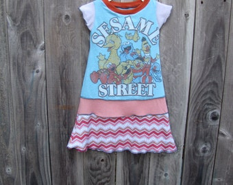 Big Bird And Friends Sesame Street Upcycled Dress Size 3/ 4