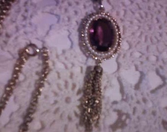 Avon Faux amethyst and pearls necklace