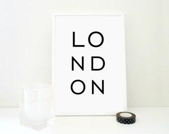 London Minimal Printable Art Print, London Poster, Wall Art, England, United Kingdom Geography Print, Minimal Home Decor, PDF & JPG Files